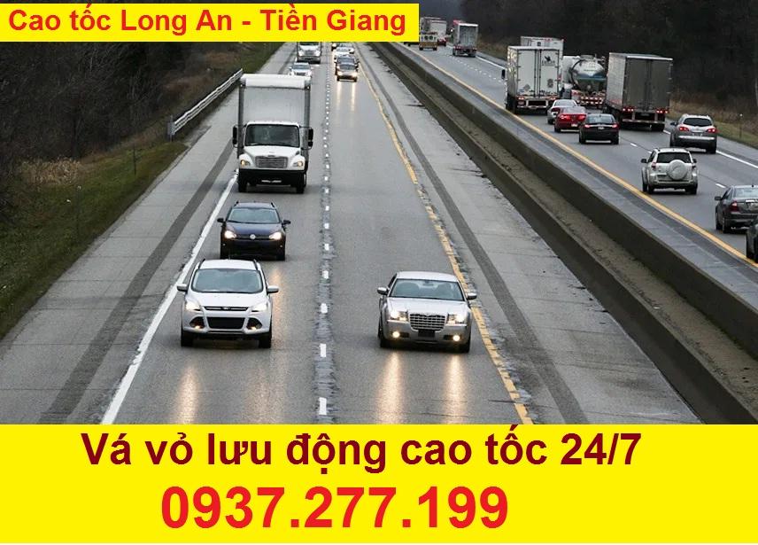 Vá xe lưu động cao tốc Long An – Tiền Giang
